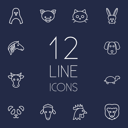 kine: Set Of 12 Beast Outline Icons Set.Collection Of Dog, Mammal, Sheep And Other Elements. Illustration