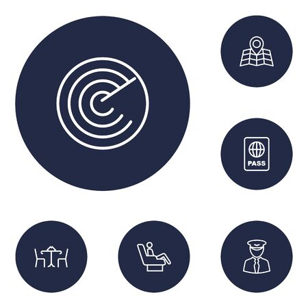 Set Of 6 Land Outline Icons Set.Collection Of Cafe, Certification, Map And Other Elements.
