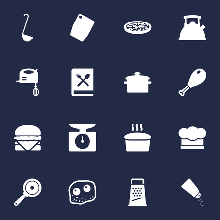 Set Of 16 Cooking Icons Set.Collection Of Blender, Poultry Foot, Loaf And Other Elements.