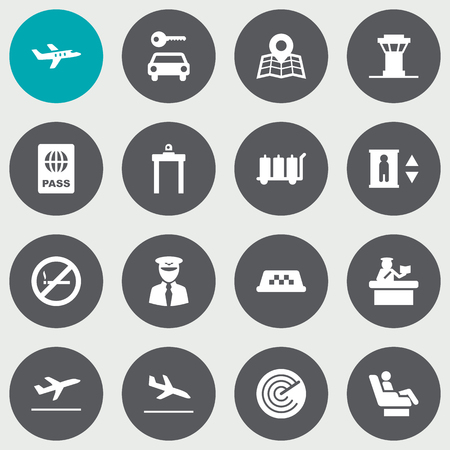 abstain: Set Of 16 Land Icons Set.Collection Of Security, Air Traffic Controller, Leaving And Other Elements.