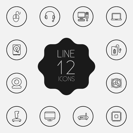 tv unit: Set Of 12 Laptop Outline Icons Set.Collection Of Headphone, Cooler, Hdd And Other Elements. Illustration
