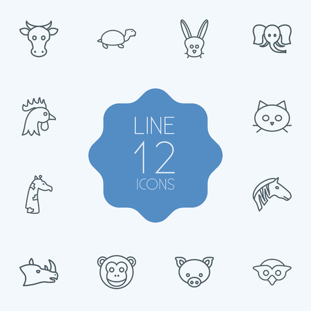 camelopard: Set Of 12 Alive Outline Icons Set.Collection Of Rabbit, Cat, Monkey And Other Elements. Illustration