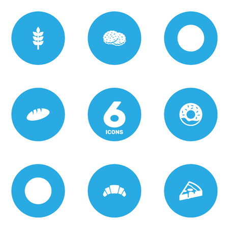 Set Of 6  Icons Set.Collection Of Shortcake, Dessert, Doughnut And Other Elements. Illustration