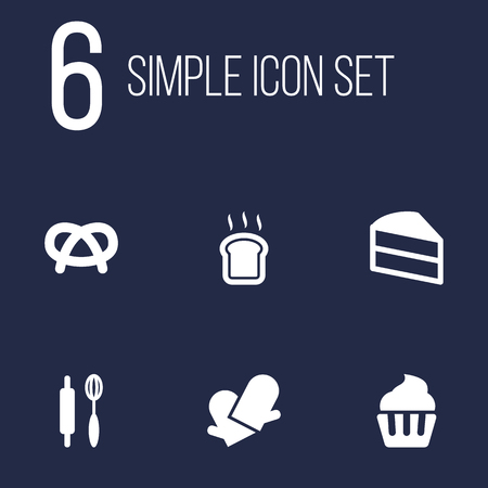 bretzel: Set Of 6 Cook Icons Set.Collection Of Pastry, Snack, Slice Bread And Other Elements.