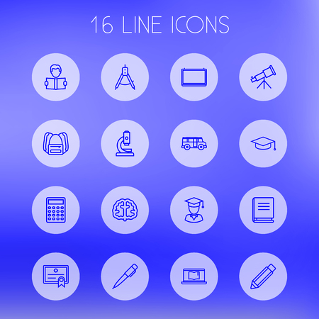 Set Of 16 Studies Outline Icons Set.Collection Of Bus, Diploma, Encyclopedia And Other Elements.