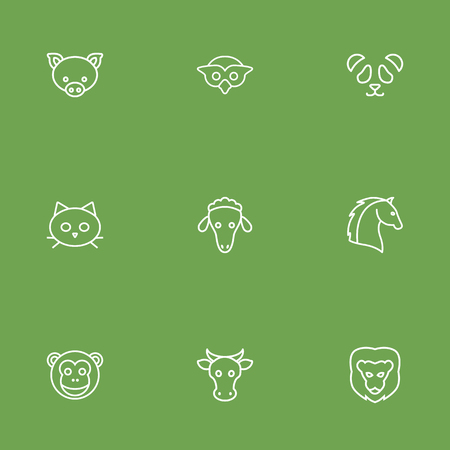 Set Of 9 Brute Outline Icons Set.Collection Of Cat, Cow, Feline Bear And Other Elements. Illustration