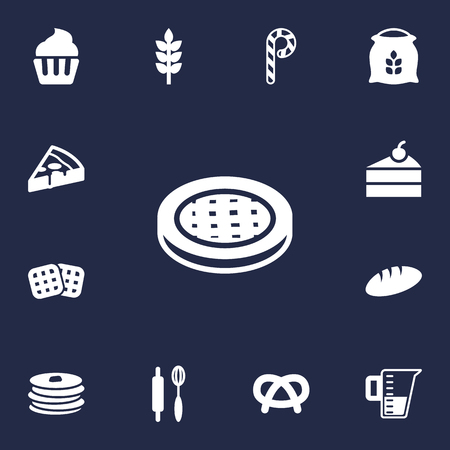 Set Of 13 Oven Icons Set.Collection Of Sack, Pepperoni, Striped Lollipop And Other Elements.