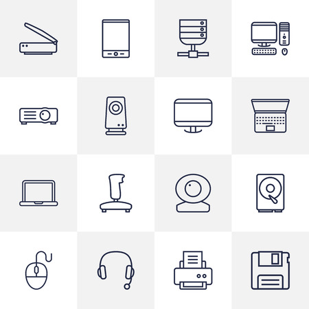 Set Of 16 Notebook Outline Icons Set.Collection Of Notebook, Projector, Monitor And Other Elements. Illustration