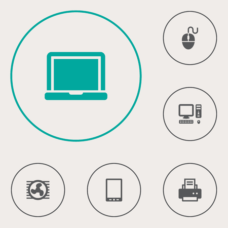 palmtop: Set Of 6 Computer Icons Set.Collection Of Palmtop, Peripheral, Laptop And Other Elements. Illustration