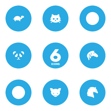 Set Of 6 Beast Icons Set.Collection Of Bear, Hog, Tortoise And Other Elements.