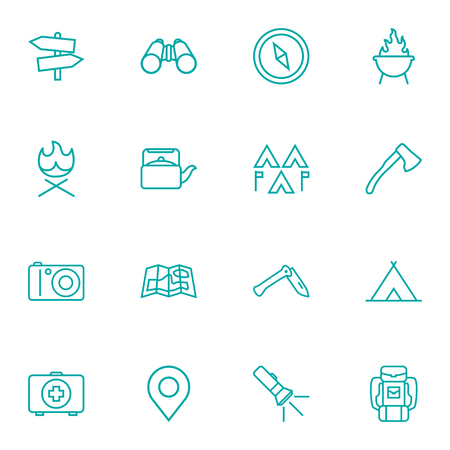 penknife: Set Of 16 Adventure Outline Icons Set.Collection Of Ax, Penknife, Place Pointer And Other Elements.