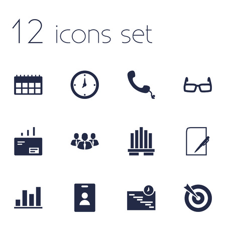 Set Of 12 Employment Icons Set.Collection Of Data, Id Card, Graph And Other Elements.