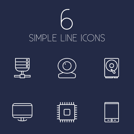 hdtv: Set Of 6 Laptop Outline Icons Set.Collection Of Web Cam, Cpu, Tablet And Other Elements.