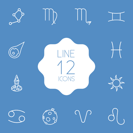 Set Of 12 Galaxy Outline Icons Set.Collection Of Constellation, Astrologer, Asteroid And Other Elements.