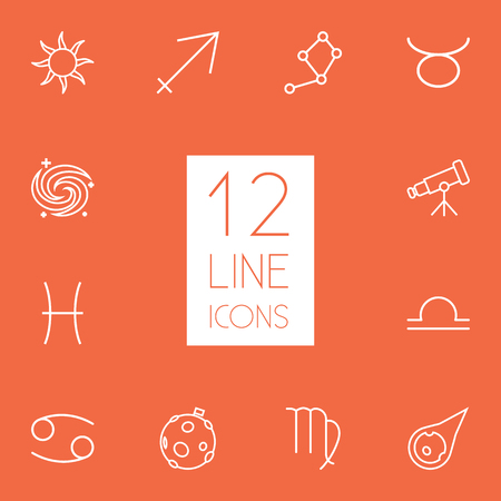 Set Of 12 Astrology Outline Icons Set.Collection Of Constellation, Galaxy, Asteroid And Other Elements. Illustration