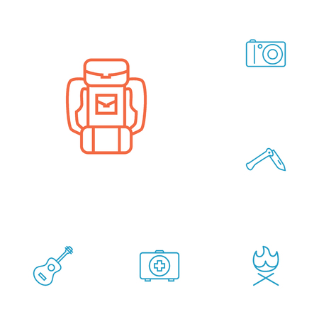 penknife: Set Of 6 Adventure Outline Icons Set.Collection Of Penknife, Medical Kit, Photographing And Other Elements.