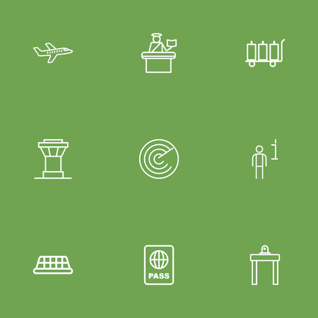 packet driver: Set Of 9 Airplane Outline Icons Set.Collection Of Plane, Data, Luggage Trolley And Other Elements.