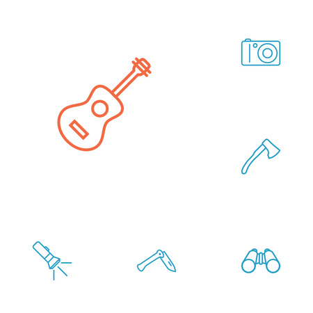 temperino: Set Of 6 Outdoor Outline Icons Set.Collection Of Penknife, Ax, Binoculars And Other Elements.