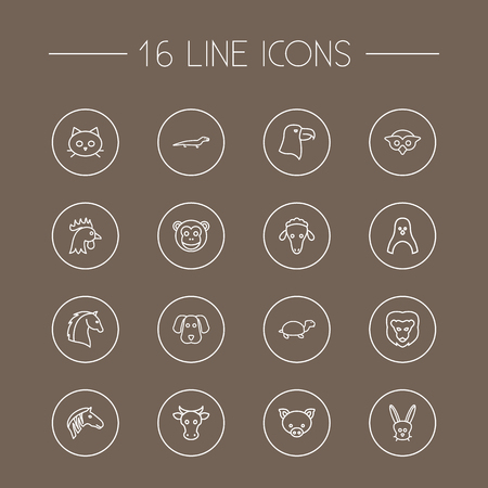 kine: Set Of 16 Alive Outline Icons Set.Collection Of Dog, Cow, Eagle And Other Elements.