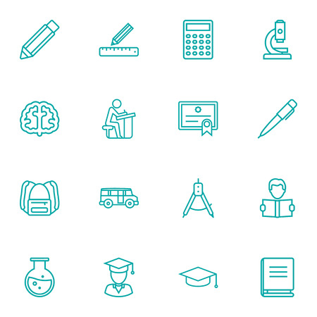 encyclopedia: Set Of 16 Studies Outline Icons Set.Collection Of Brain, Microscope, Ruler And Other Elements.