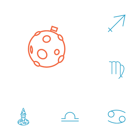 Set Of 6 Astrology Outline Icons Set.Collection Of Moon, Cancer, Libra And Other Elements. Illustration