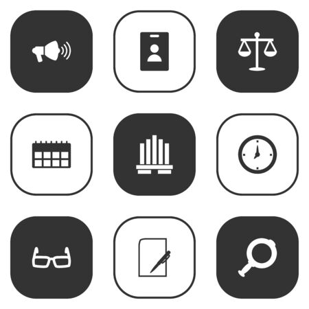 handglass: Set Of 9 Business Icons Set.Collection Of Data, Building, Loupe And Other Elements.