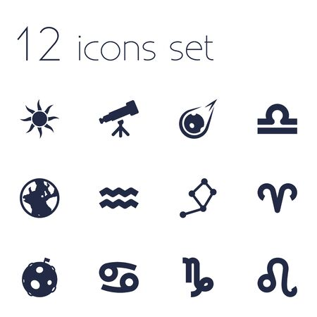 starry night: Set Of 12 Astronomy Icons Set.Collection Of Earth Planet, Horoscope, Water Bearer And Other Elements.