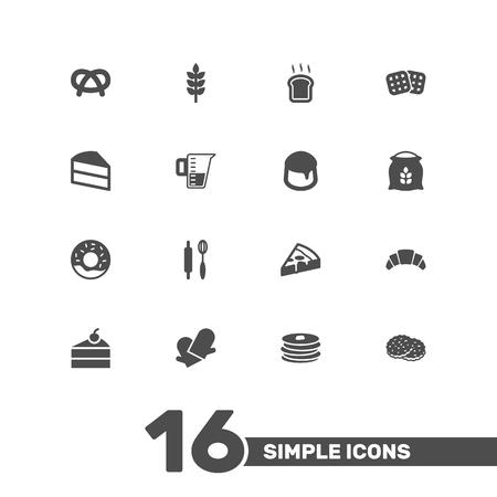 Set di 16 set di icone per la panetteria. Raccolta di pasticceria, dessert, pane di fetta e altri elementi. Vettoriali