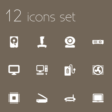 tv unit: Set Of 12 Computer Icons Set.Collection Of Photocopy, Supply, Record And Other Elements. Illustration