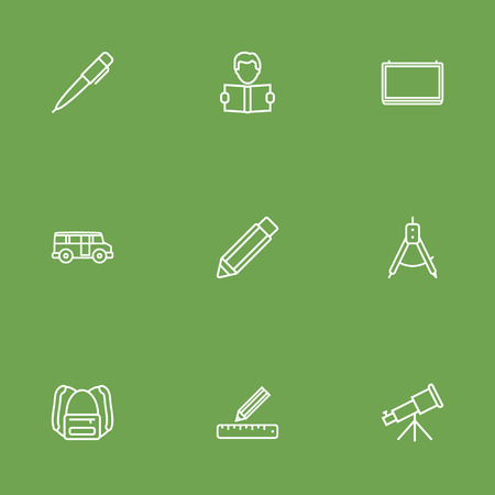 architect: Set Of 9 Studies Outline Icons Set.Collection Of School Board, Ruler, Pencil And Other Elements. Illustration