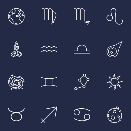 Set Of 16 Galaxy Outline Icons Set.Collection Of Constellation, Astrologer, Galaxy And Other Elements. Illustration
