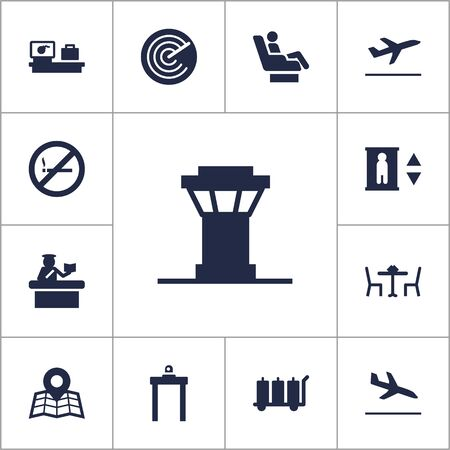 abstain: Set Of 13 Land Icons Set.Collection Of Lift, Security, Leaving And Other Elements.