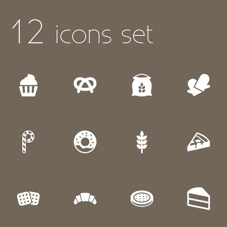 Set Di 12 Icone Set.Collection Di Torta, Wafer, Pasticceria E Altri Elementi.