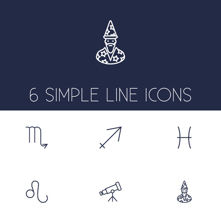 Set Of 6 Galaxy Outline Icons Set.Collection Of Astrologer, Telescope, Pisces And Other Elements. Stock Vector - 77818383