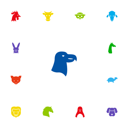 Set Of 13 Beast Icons Set.Collection Of Bunny, Wildcat, Aquila And Other Elements.