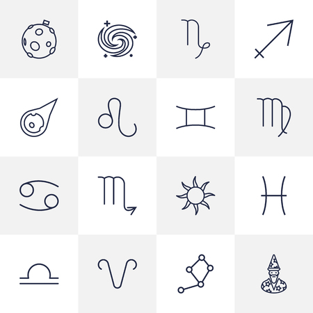 astrologer: Set Of 16 Horoscope Outline Icons Set.Collection Of Gemini, Asteroid, Sagittarius And Other Elements.