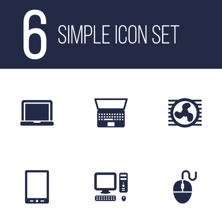 palmtop: Set Of 6 Laptop Icons Set.Collection Of Palmtop, Fan, Control Device And Other Elements.