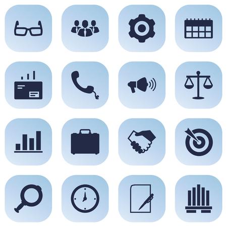 데이터, 다이어그램, 시간 및 다른 요소의 16 고용 아이콘 Set.Collection의 집합입니다.