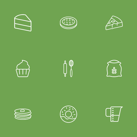 Set Of 9 Oven Outline Icons Set.Collection Of Pancakes, Donuts, Cake And Other Elements.