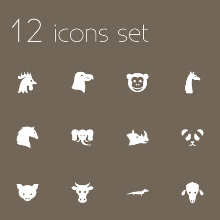 camelopard: Set Of 12 Alive Icons Set.Collection Of Steed, Ape, Gecko And Other Elements.