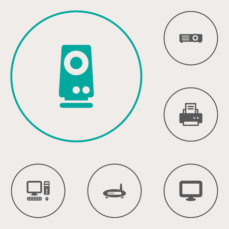 hdtv: Set Of 6 Laptop Icons Set.Collection Of Router, Display, Amplifier And Other Elements.