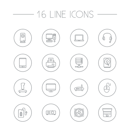 Set Of 16 Computer Outline Icons Set.Collection Of Cooler, Hdd, Gamepad And Other Elements. Ilustrace