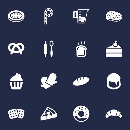 Set Di 16 Cook Set di icone. Raccolta di pane, snack, peperoni e altri elementi. Vettoriali