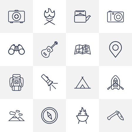 hiking: Set Of 16 Adventure Outline Icons Set.Collection Of Baggage, Shelter, Grill And Other Elements.