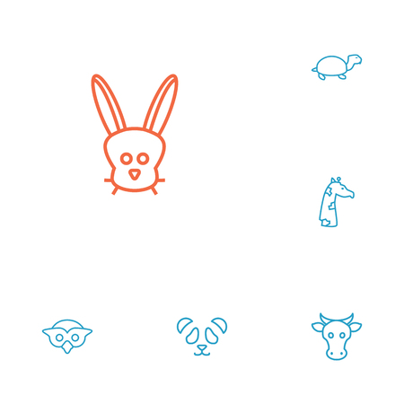 camelopard: Set Of 6 Alive Outline Icons Set.Collection Of Rabbit, Turtle, Owl And Other Elements.