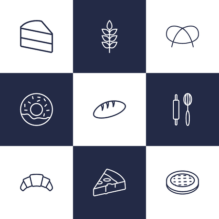 Set Of 9 Bakery Outline Icons Set.Collection Of Pizza, Donuts, Bread And Other Elements.