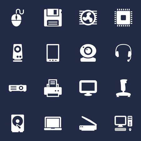 Set Of 16 Computer Icons Set.Collection Of Show, Joystick, Amplifier And Other Elements.