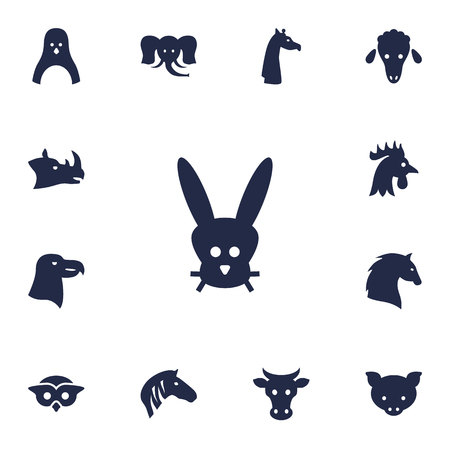 Set Of 13 Brute Icons Set.Collection Of Hog, Bunny, Night Fowl And Other Elements.