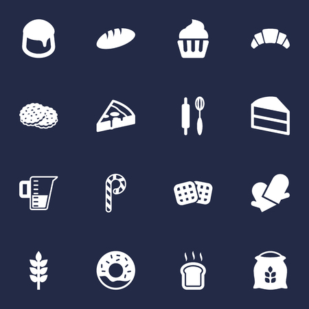 Set Of 16 Cook Icons Set.Collection Of Slice Bread, Pastry, Measurement And Other Elements. Illustration