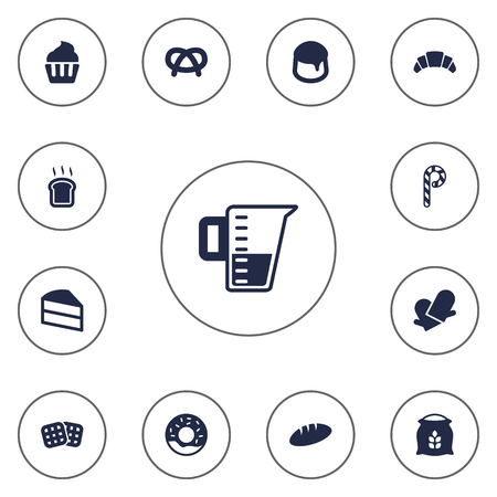 wholemeal: Set Of 13  Icons Set.Collection Of Sack, Wafer, Muffin And Other Elements.